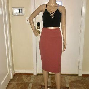 Dresses & Skirts - Women's Burnt Orange Midi Pencil Skirt-Size Medium